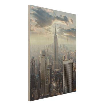 Holz Wandbild - Sonnenaufgang in New York - Hoch 3:4