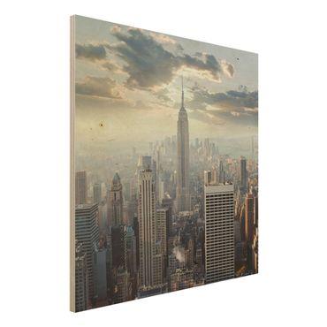 Holz Wandbild - Sonnenaufgang in New York - Quadrat 1:1