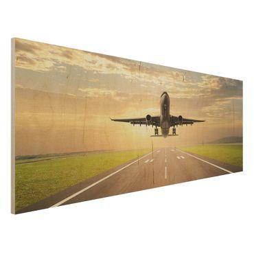 Holzbild - Startendes Flugzeug - Panorama Quer