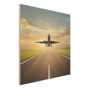 Holzbild - Startendes Flugzeug - Quadrat 1:1