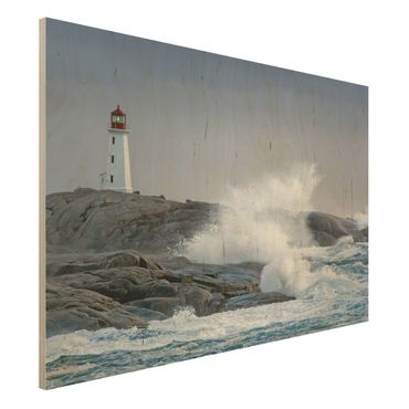 Holzbild - Sturmwellen am Leuchtturm - Quer 3:2