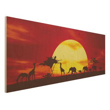 Holzbild - Sunset Caravan - Panorama Quer