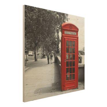 Holzbild - Telephone - Quadrat 1:1