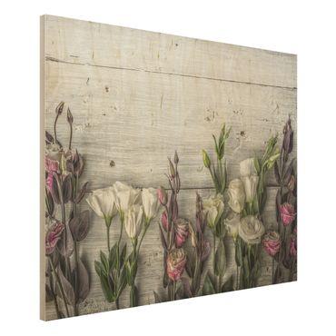 Holzbild - Tulpen-Rose Shabby Holzoptik - Quer 4:3
