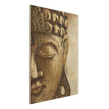 Holzbild Buddha - Vintage Buddha - Hoch 3:4