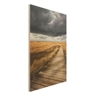 Holz Wandbild - Weg in den Dünen - Hoch 2:3