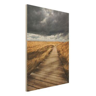 Holz Wandbild - Weg in den Dünen - Hoch 3:4