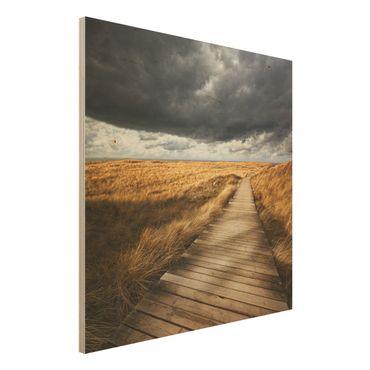 Holz Wandbild - Weg in den Dünen - Quadrat 1:1