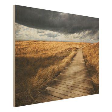 Holz Wandbild - Weg in den Dünen - Quer 4:3