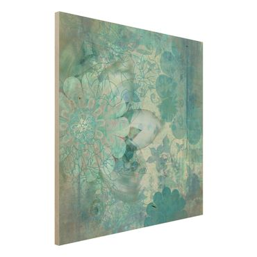 Holzbild - Winterblumen - Quadrat 1:1