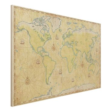 Holzbild Weltkarte - World Map - Quer 3:2