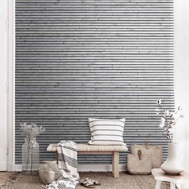Metallic Tapete  - Holzwand mit schmalen Leisten schwarz weiß