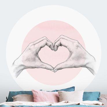 Runde Tapete selbstklebend - Illustration Herz Hände Kreis Rosa Weiß