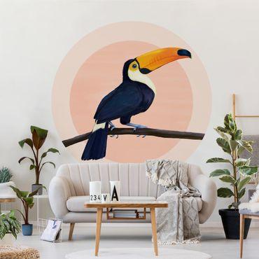 Runde Tapete selbstklebend - Illustration Vogel Tukan Malerei Pastell