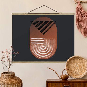 Stoffbild mit Posterleisten - Indigene Ton Geometrie auf Dunkelgrau - Querformat 4:3