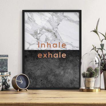 Bild mit Rahmen - Inhale Exhale Kupfer und Marmor - Hochformat