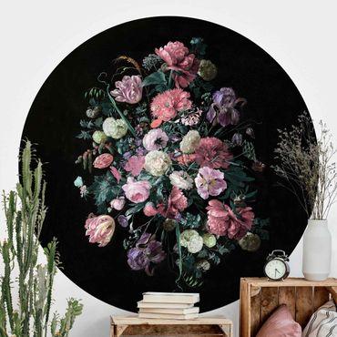 Runde Tapete selbstklebend - Jan Davidsz de Heem - Dunkles Blumenbouquet