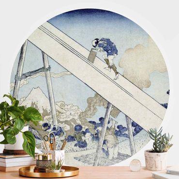 Runde Tapete selbstklebend - Katsushika Hokusai - In den Totomi Bergen