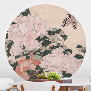 Runde Tapete selbstklebend - Katsushika Hokusai - Rosa Pfingstrosen mit Schmetterling
