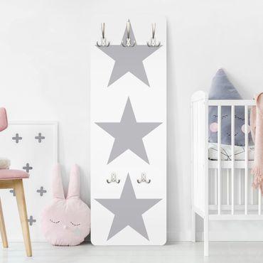 Kindergarderobe - No.YK43 Große Graue Sterne auf Weiß