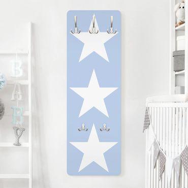 Kindergarderobe - Große Weiße Sterne auf Blau - Kinderzimmer