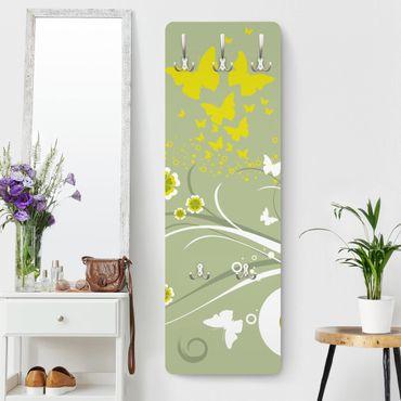 Kindergarderobe - Schmetterlinge im Frühling - Kinderzimmer Gelb Grün