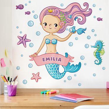Kinderzimmer Wandtattoo Meerjungfrau mit Wunschname