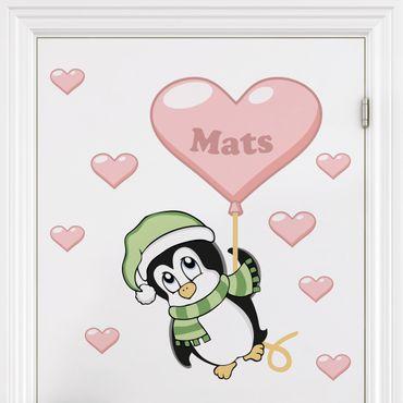 Kinderzimmer Wandtattoo mit Wunschtext - Pinguin Junge mit Wunschname