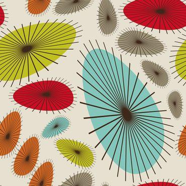 Klebefolie - Abstraktes Retro Blumenmuster - Bastelfolie selbstklebend