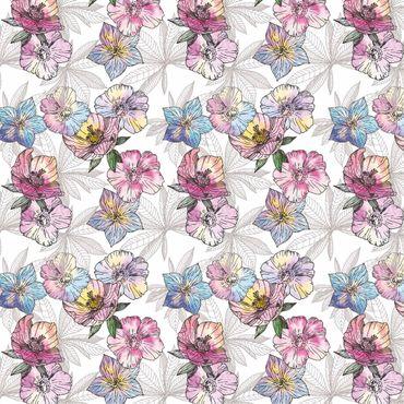 Klebefolie - Aquarell Blumenmuster Pastellfarben - Selbstklebende Folie