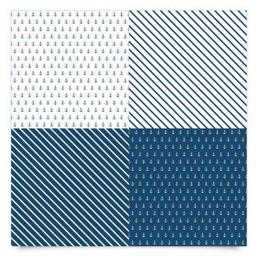 Klebefolie blau weiss - Maritimes Anker und Streifen Kachel-Set - Dekorfolie