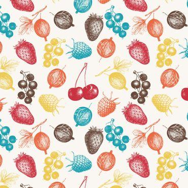 Klebefolie - Buntes handgezeichnetes Küchen Sommerfrüchte-Muster - - Selbstklebefolie