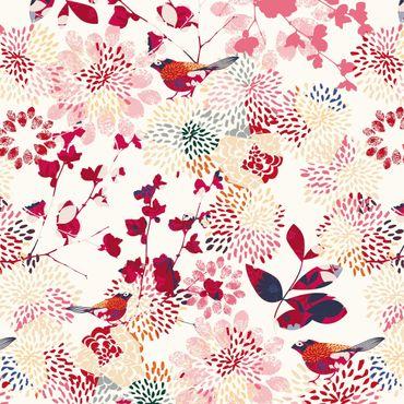 Klebefolie - Fancy Birds - Florales Muster mit Vögeln - Selbstklebende Folie