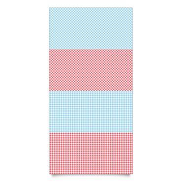 Klebefolie gestreift Set - Karomuster mit Streifen in Pastellblau und Vermillon Dekofolie
