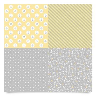 Klebefolie grau gelb - Maritimes Musterset mit Anker, Streifen und Punkten - Dekofolie