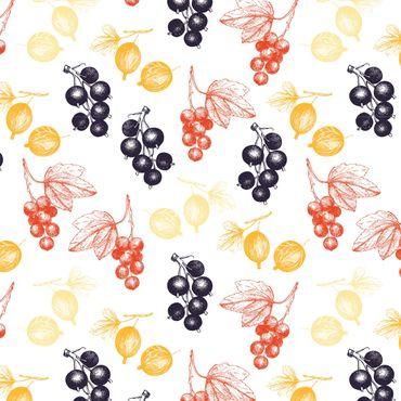 Klebefolie - Handgezeichnetes Beerenfrüchte Muster für Küche - Selbstklebende Folie