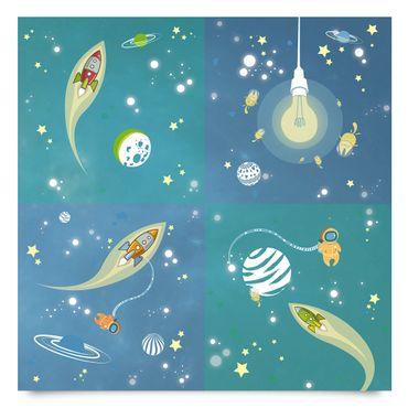 Klebefolie Kinder Set - Weltall und Astronauten Set - Kinderzimmer Selbstklebefolie