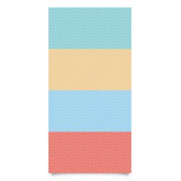 Klebefolie Kinderzimmer - Pastell-Farben weiß gepunktet - Türkis Blau Gelb Rot - Dekofolie