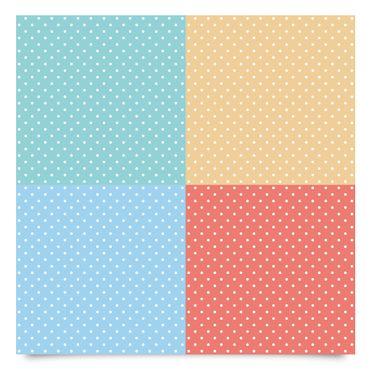 Klebefolie Kinderzimmer Set - 4 Pastell-Farben mit weißen Punkten - Türkis Blau Gelb Rot