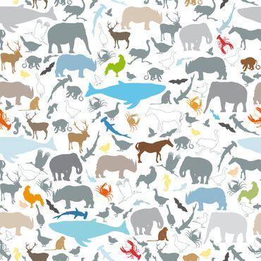 Klebefolie - Lernmuster für Kinder mit vielen verschiedenen Tieren - Selbstklebefolie