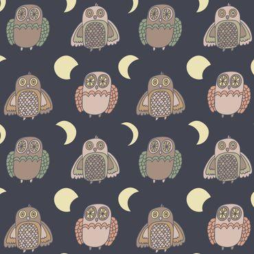 Klebefolie - Nachteulen-Muster mit Mondphasen - Selbstklebefolie
