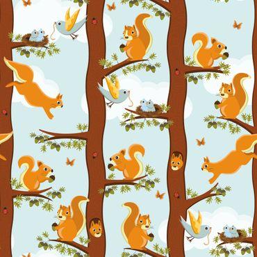 Klebefolie - Niedliches Kindermuster mit Eichhörnchen und Vogelbabys - Selbstklebefolie