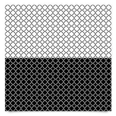 Klebefolie schwarz weiß - Marokkanisches Fliesen Vierpassmuster Set - Selbtsklebefolie