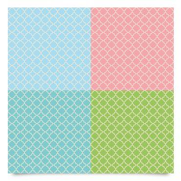 Klebefolie Set - Marokkanisches Fliesenmosaikmuster in 4 Pastell Farben - Dekorfolie