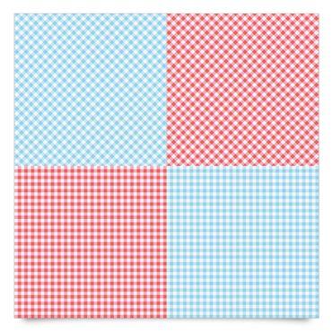 Klebefolie Streifen-Set - Karomuster mit Streifen in Pastellblau und Vermillon - Dekofolie