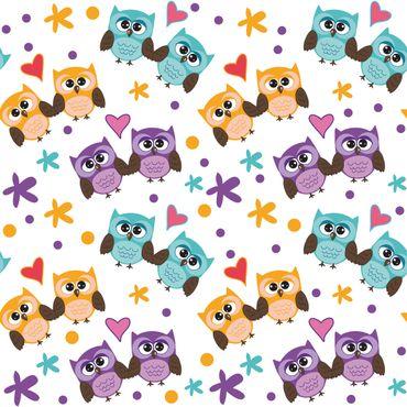 Klebefolie - Süßes Kinderzimmer-Muster mit verliebten Eulen - Selbstklebende Folie