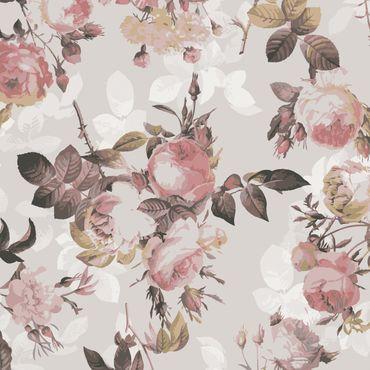 Klebefolie - Vintage Blumen-Muster mit Rosen - Selbstklebende Folie