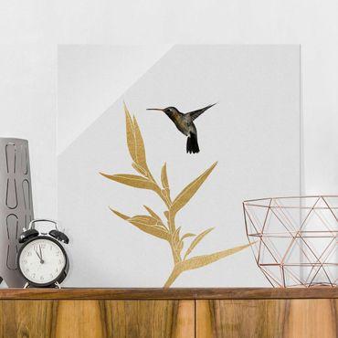 Glasbild - Kolibri und tropische goldene Blüte II - Quadrat