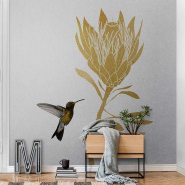 Metallic Tapete  - Kolibri und tropische goldene Blüte