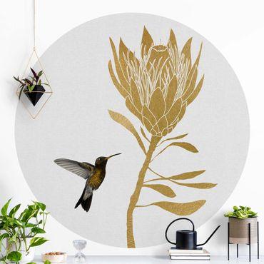 Runde Tapete selbstklebend - Kolibri und tropische goldene Blüte